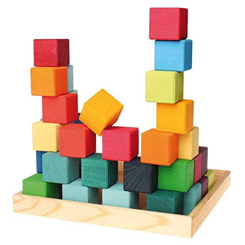 Grimm's Mosaic Square of 36 Wooden Cube Blocks with Storage Tray, 4x4 Size