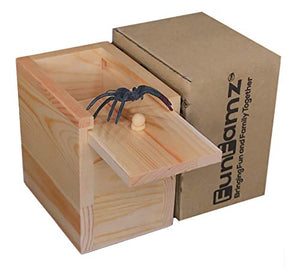 FunFamz The Original Spider Prank Box- Funny Wooden Box Toy Prank, Hilarious Christmas Money Gift Box Surprise Toy and Gag Gift Practical Joke Bromas Kit