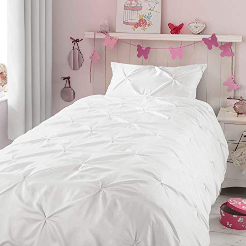 Kids Duvet Cover Twin, Glossy Polyester Face and 100% Cotton Reverse, Light Weight White Duvet Cover Set for Baby Teen Girls Bedroom, Cute Ruched Pinch Pleated Pintuck Style Duvet Cover, 69