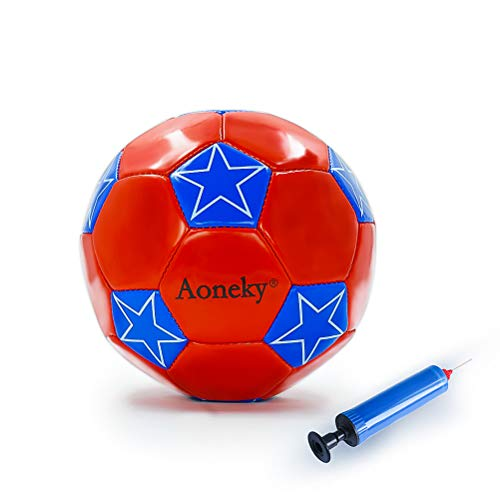 Aoneky Mini Size 2 Soccer Toys for Kids Aged 1 - 3 Years Old (Red Star)