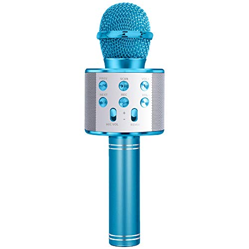 LITTLEFUN Microphone for Girl Kid, Karaoke Machine for Girls Gift Age 4-12 Children Bluetooth Microphone Toy for 4-12 Year Old Girl Boy Girl Kids Birthday Gift for Girl MIC Blue