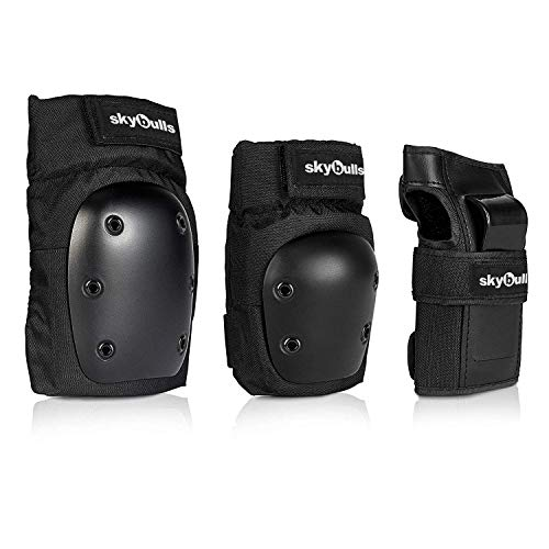 skybulls Adult Knee Pads Elbow Pads with Adjustable Wrist Guards, [3 in 1] Protective Gear Set Skateboard Pads Knee and Elbow Pads for Skating Rollerblading Inline-Skating Biking Scooter