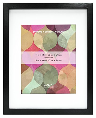 MCS 11x14 Inch Art Frame with 8x10 Inch Mat Opening, Black (47561)
