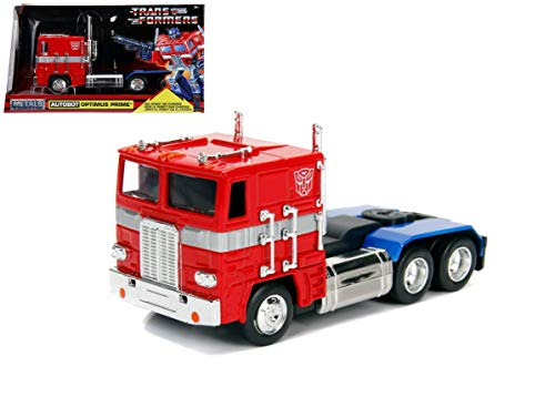 Jada G1 Autobot Optimus Prime Truck Red with Robot on Chassis from Transformers TV Series Hollywood Rides Series Diecast
