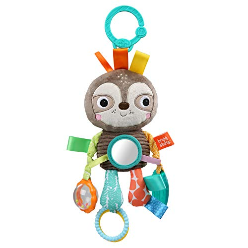 Bright Starts Playful Pals Take-Along Activity Toy, Sloth, Newborn +