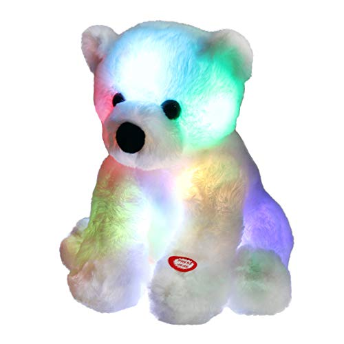 Bstaofy Glow Polar Bear LED Stuffed Animals Night Light Soft Plush Adorable Floppy Toy Gift for Kids on Christmas Birthday Festival Occasions, 9.5'', White