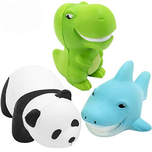 TEPSMIGO Squishy Toys, 5.2 inch Panda + 3.5 inch Dinosaur + 5.2 inch Shark, Animal Slow Rising Squishies Sweet Scented Vent Charms Stress Relief Toy, for Kids Audlts (3 Pieces)