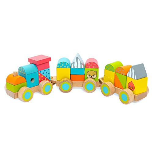 Bimi Boo Wooden Train Blocks with 2 Stacking Cars - Classic Toddler Wood Toy Set (23 Pcs), Stackable Shapes in Variety of Colors