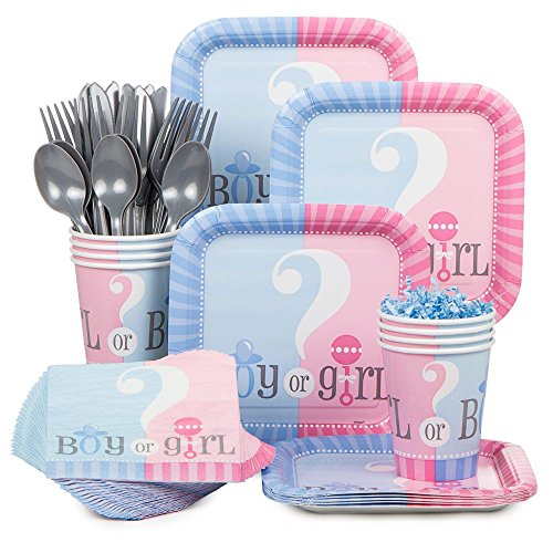 Baby Gender Reveal Partyware Kit, Blue & Pink, Includes 20 Plates, 24 Napkins, 24 Cups, & 18 Piece Cutlery Set