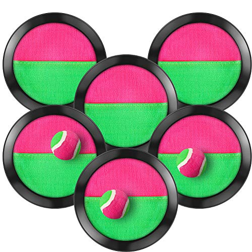 TOODOO Toss and Catch Balls Game, 3 Set Paddle Toss and Catch Ball, 6 Paddles and 3 Balls, Suitable for Sports, Beach, Gifts, Event and Game Prizes, Party Favor and Supplies (Black, 6.1 Inch)