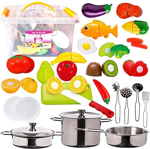 FUNERICA Kitchen Pretend Play Food Toys with Stainless Steel Pots and Pans Set, Cooking Utensils, Storage Bin, Knife, Cutting Board, Cutting Vegetables, Meat and Fish for Kids, Girls, Boys, Toddlers