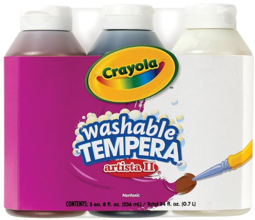 Crayola 3 Count 8-Ounce Artista II Washable Tempera Neutral Color Set