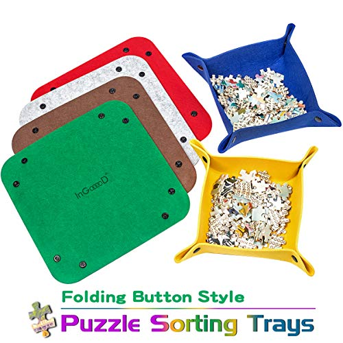 Ingooood Jigsaw Puzzle Accessory Puzzle Piece Sorter - Woolen Folding Button Style Puzzle Sorting Trays for Puzzles Up to 1000 Pieces (6 Trays)