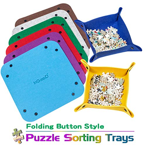 Ingooood Jigsaw Puzzle Accessory Puzzle Piece Sorter - Woolen Folding Button Style Puzzle Sorting Trays for Puzzles Up to 1000 Pieces (8Trays)