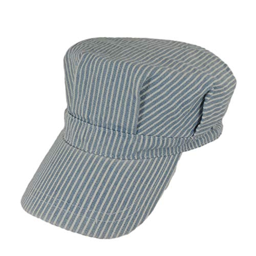 Blue And White Railroad Engineer Train Conductor Adult Hat