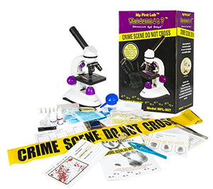 My First Lab Whodunnit? Microscope and Forensic Accessory Kit 芒聙聯 Recreate and Solve a Crime Scene, Real Glass Optics with 10X Eyepiece, 4X, 10X, 40X Magnification