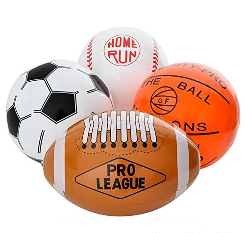 Rhode Island Novelty 16 Inch Sports Ball Inflates, One Dozen Assorted