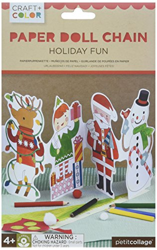 Petit Collage Holiday Fun Paper Doll Chain Craft & Color