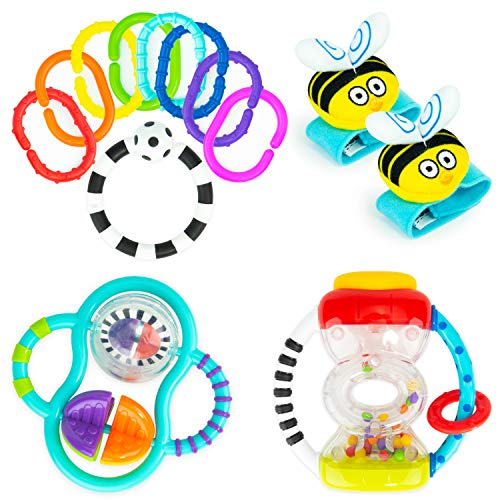 Baby's First Rattles Developmental Giftset for Newborns + | Includes Wrist Rattles, Hourglass Rattle, 9 pc Ring O' Links, and Grasp & Spin Rattle
