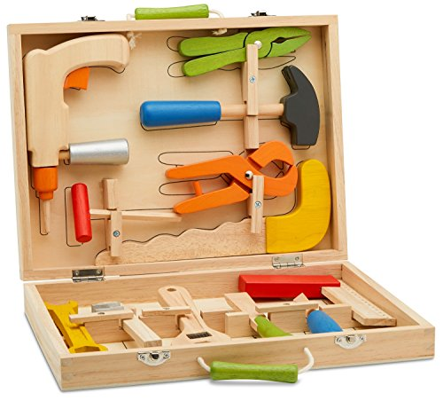 Top Race 10 Piece Tool Box, Solid Wood Tool Box with Colorful Wooden Tools, Construction Toy Role Play Set