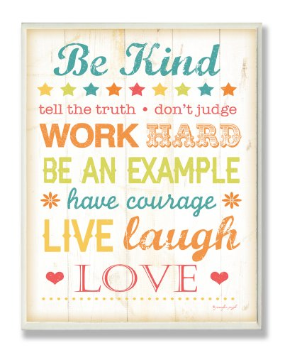 The Kids Room by Stupell Be Kind Typography Rectangle Wall Plaque, 11 x 0.5 x 15, Proudly Made in USA