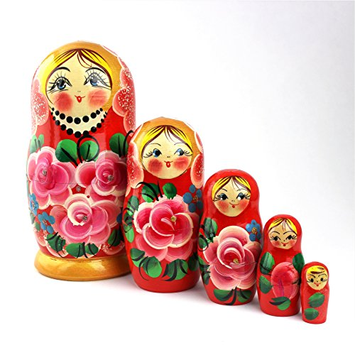Heka Naturals Russian Nesting Dolls, 5 Traditional Matryoshka Roses Style | Babushka Wooden Dolls, Pink Roses Design, Hand Made in Russia | Roses, 5 Piece, 7 inches