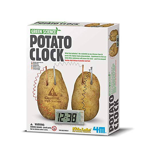 4M Potato Clock DIY Green Science Chemistry Engineering Lab - STEM Toys Educational Gift for Kids & Teens, Girls & Boys, Brown
