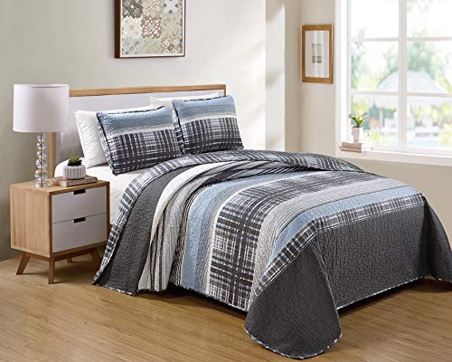 Kids Zone Home Linen 3 Piece Full/Queen Charcoal White Light Grey Stripe Plaid Pattern Unisex Bedspread