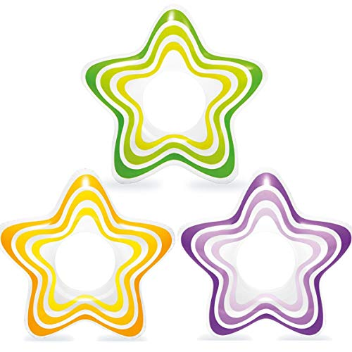 Intex Inflatable Star Rings, Three Colors, Yellow, Purple, Green, 29