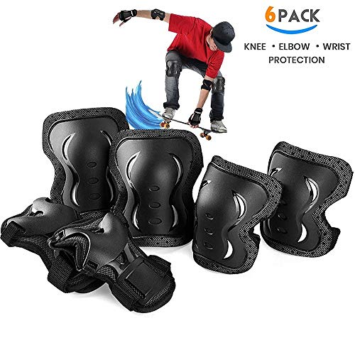 skybulls Adult Youth Knee Pads Elbow Pads Wrist Guards, [6Pack] Knee Elbow Pads Protective Gear Skateboard Pads Set for Skates, Skateboarding, Roller Blading, Bike, Inline Skating and Scooters