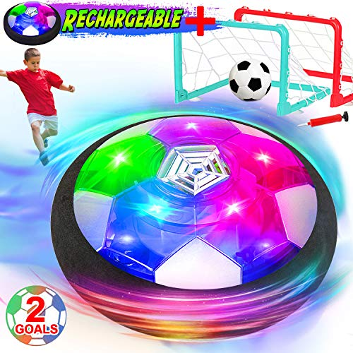 iGeeKid Hover Soccer Ball Kids Toys Air Soccer Rechargeable with 2 Preinstall Goals LED Light Floating Football Foam Bumper Kids Indoor Outdoor Sports Holiday Toys for Girls Boys Age 3-14