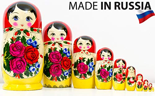 Russian Nesting Doll - Semenovo - Hand Painted in Russia - Traditional Matryoshka Babushka (10.25``(10 Doll in 1) Red)