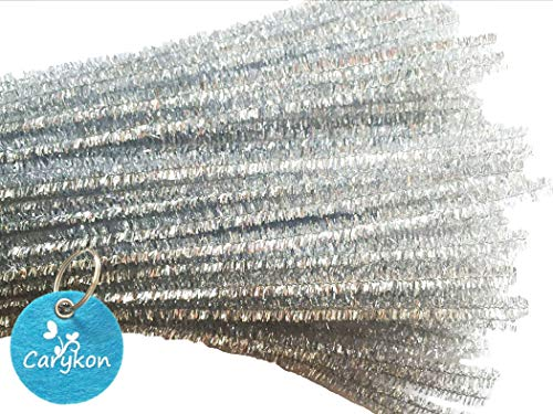 Carykon 100 PCS 12 Inch Glitter Tinsel Creative Arts Stems Pipe Cleaners (Silver)