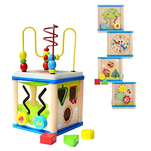 DalosDream Wooden Activity Cube with Bead Maze - 6 in 1 Multipurpose Educational Wood Shape Color Sorter Toy for Toddlers, Activity Center for Kids (6 in 1)