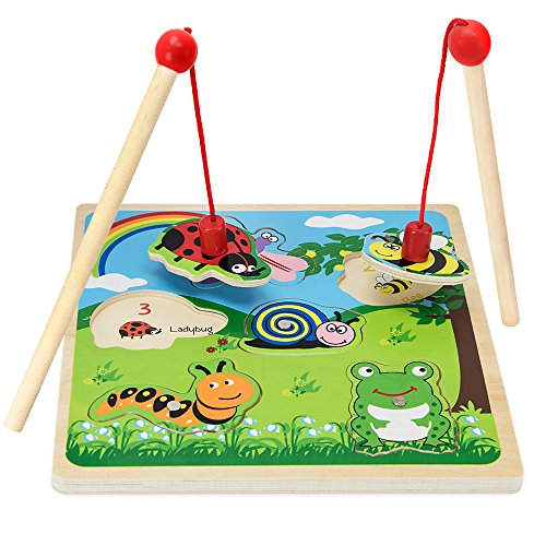 Imagination Generation Wooden Wonders Lift & Look Magnetic Bug Catcher Game with 2 Wands (6 pcs)