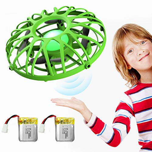 EACHINE UFO Flying Ball Drone for Kids, E111 Hand Operated Induction Levitation UFO Mini Drone Easy Play Indoor and Outdoor Scoot Hover Drone Helicopter Toy for Boys and Girls (Green)