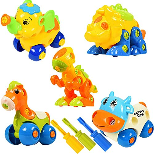 WolVol 86-Piece Take-A-Part Building Animal Set - Toddler Assembly STEM Toy - Take Apart for Boys & Girls - Screwdriver Included - Dinosaur, Elephant, Cow, Horse, Triceratops, - Educational