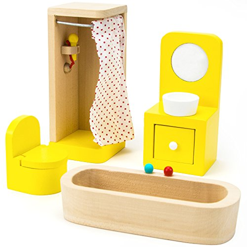 Wooden Wonders Country Bathroom Set, Colorful Dollhouse Furniture (4pcs.) by Imagination Generation