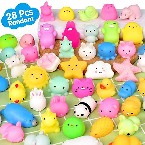 FLY2SKY Mochi Squishy Toys 28PCS Animal Mini Squishies Kawaii Party Favors for Kids Cat Unicorn Squishy Squeeze Stress Relief Toys Goodie Bags Novelty Toy Birthday Gifts for Boys Girls Adults, Random