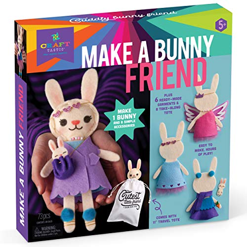 Craft-tastic – Make A Bunny Friend – Craft Kit Makes 1 Easy-To-Sew Stuffie with Clothes & Accessories