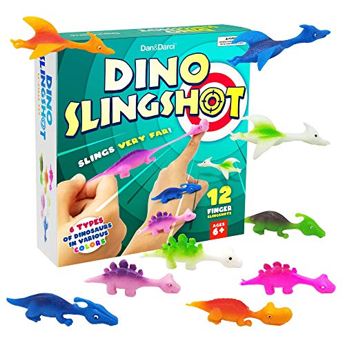 Dan&Darci Dinosaur Rubber Finger Slingshots - 12 Pcs - Dino Novelty Gifts Toys - Funny Gifts for Kids or Anyone - Fun Games