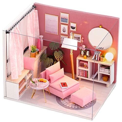 CUTEBEE Dollhouse Miniature with Furniture, DIY Dollhouse Kit Plus Dust Proof and Music Movement, 1:24 Scale Creative Room Idea (Happy Time)