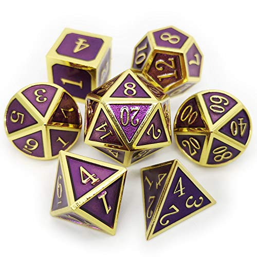 Haxtec 7 Die D&D Metal Dice Set Gold Purple DND Dice for Dungeons and Dragons Roleplaying Dice Games