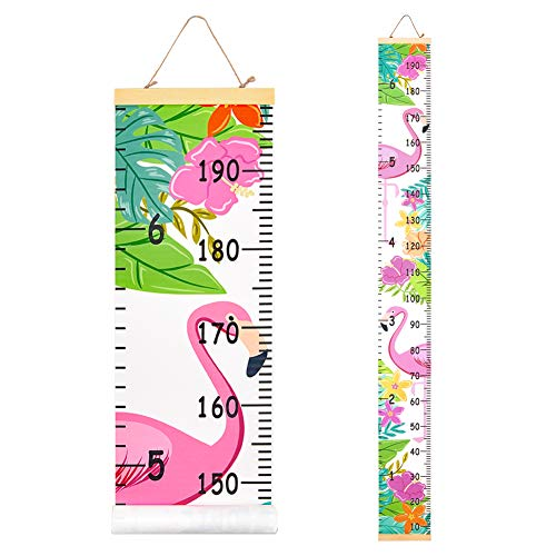 Beinou Baby Growth Chart Ruler for Kids Wood Frame Height Measure Chart 7.9'' x 79'' Canvas Hanging Height Growth Chart for Baby Nursery Decoration Baby Shower Gift (Flamingo with Flowers)