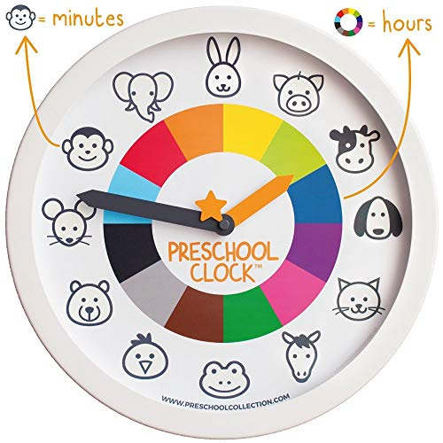 Preschool Clock - The Only Silent Clock a Toddler/Preschooler Understands - Time Learning/Teaching Metal Frame Wall Clock 12'' for Kids! Preschool Teachers Approved