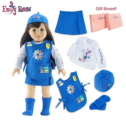 18 Inch Doll Clothes for American Girl Dolls | Doll Daisy Girl Scout-Inspired 5 Piece Uniform, Including Tunic with Embroidered Patches! | Gift Boxed! | Fits 18