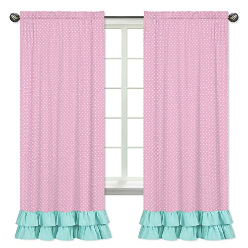 Pink Polka Dot and Turquoise Girls Window Treatment Panels for Skylar Bedding Collection - Set of 2