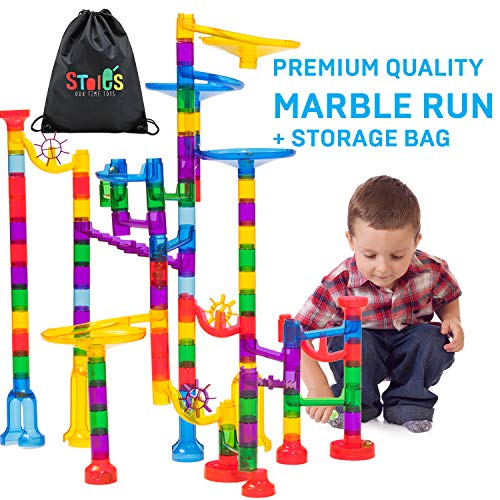 Stoie's 123-Piece Marble Run Set - Includes Race Tracks, Glass Marbles and Carrying Pouch - Education STEM Toy for Boys and Girls, Boosts Family Bonding - Non-Toxic ABS Construction