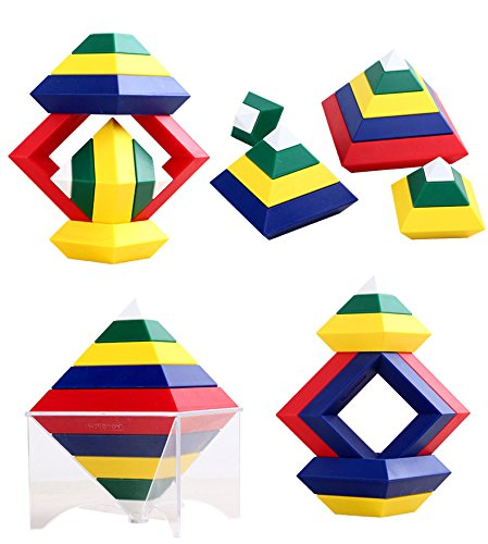 Agirlgle Building Blocks Stacking Toys for Kids Stacker Toy 3D Puzzle Stem Toys Pyramid Speed Cube, Creative Educational Toys for Kids Preschool Learning Toys Stacking Block