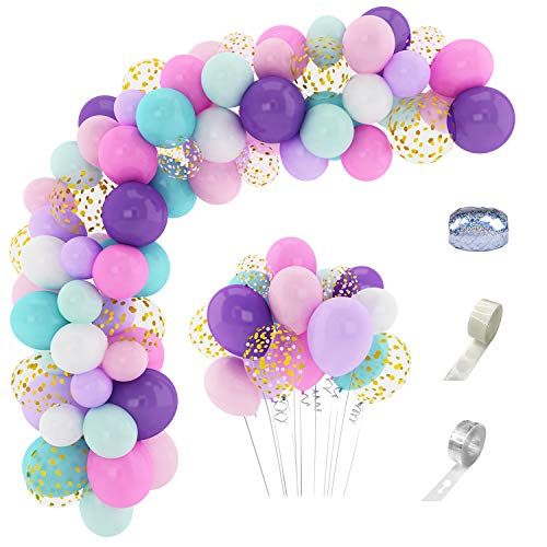 168 Pcs Balloon for Unicorn Theme Party Arch Garland Kit 12'' 10'' 5'' Confetti White Light Purple Pink Aqua Blue Latex Balloons Set for Wedding Baby Shower Unicorn Birthday Party Supplies Decorations with 3 Pcs Balloon Tools